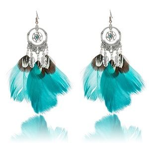 BOGO! Dream Catcher Turquoise Feather Earrings